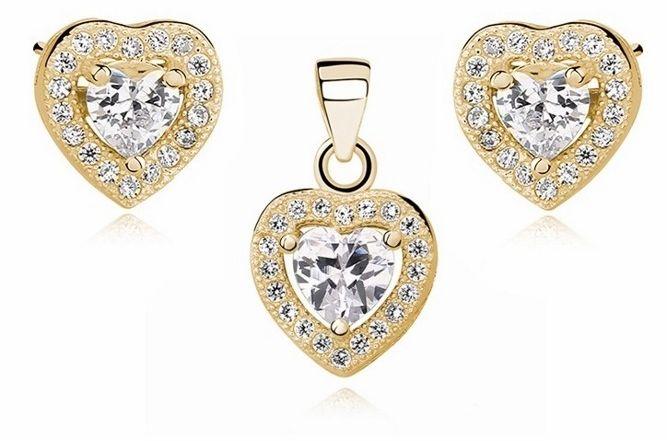 Pozłacany srebrny komplet serc z białą cyrkonią srebro 925 Z0760Z_GW