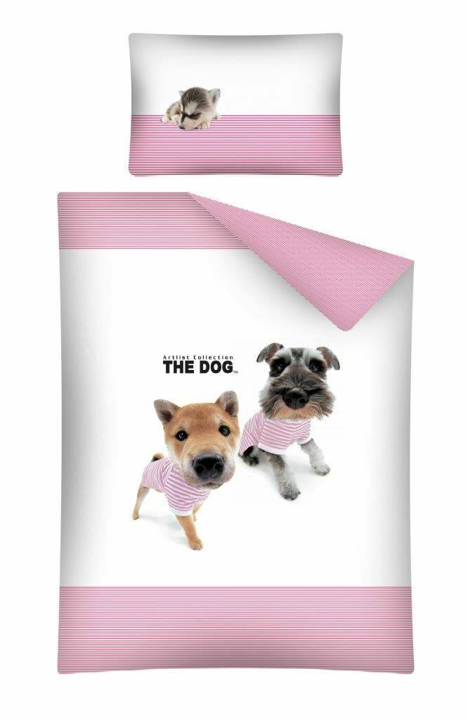 Pościel bawełniana 100x135 Pieski 15 B The Dog biało różowe w paski 1564