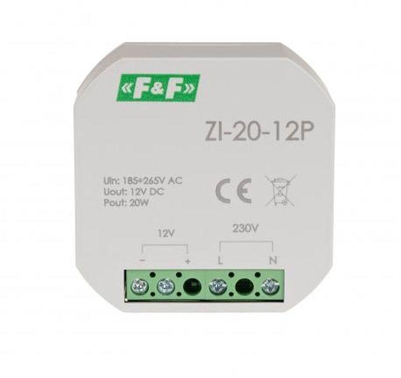 Zasilacz impulsowy do puszki 180-264V AC, wyj. 12V DC 1,6A 20W ZI-20-12P