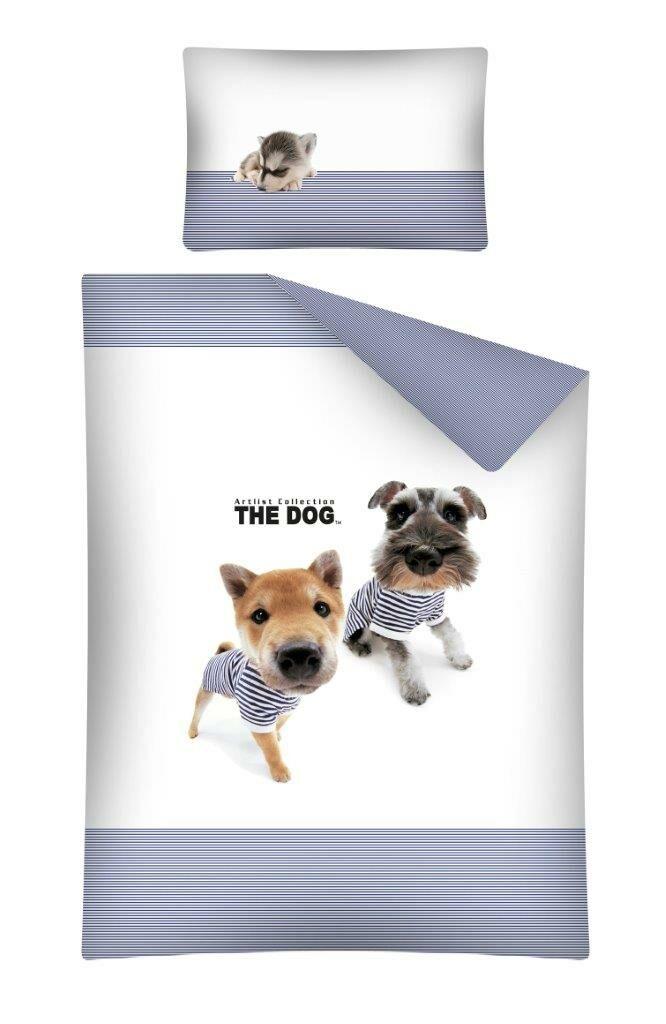 Pościel bawełniana 100x135 Pieski 15 A The Dog biało niebieskie w paski 1557