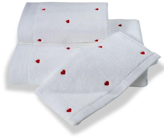 Ręcznik kąpielowy MICRO LOVE 75x150cm Biały / czerwone serduszka