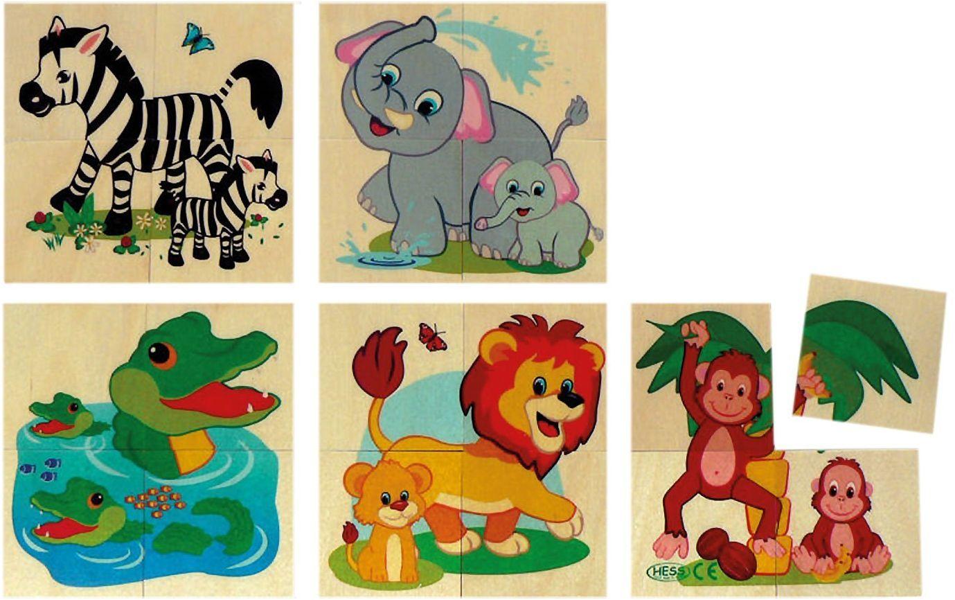 Drewniane puzzle zwierzęta dżunglowe 5 motywów, 20 części