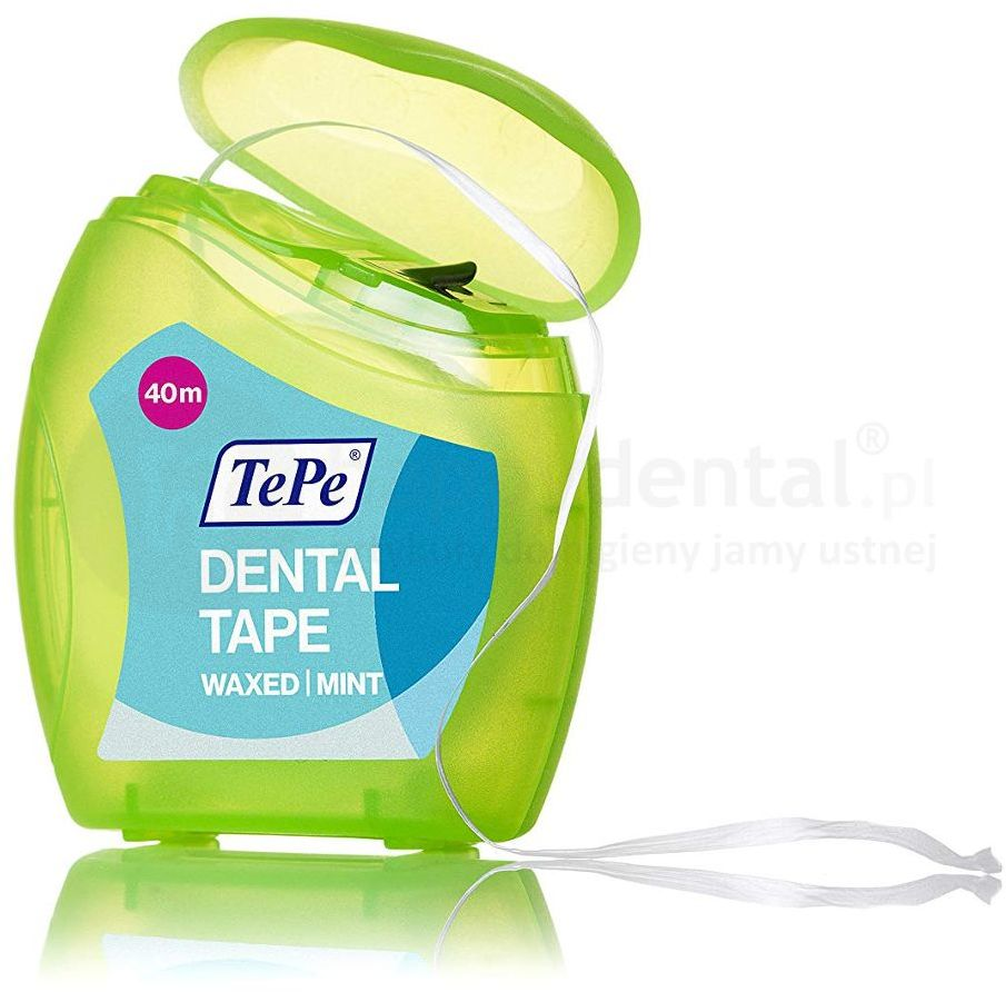 TePe Dental Tape 40m - woskowana taśma dentystyczna o smaku miętowym