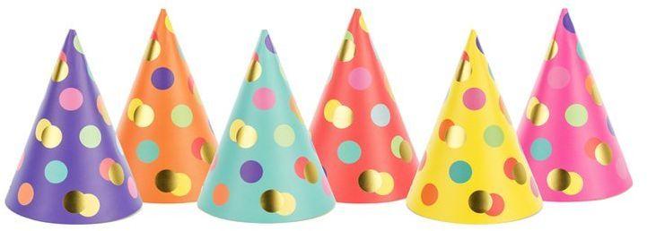 Czapeczki urodzinowe kropki mix kolorów 6 sztuk CPP25