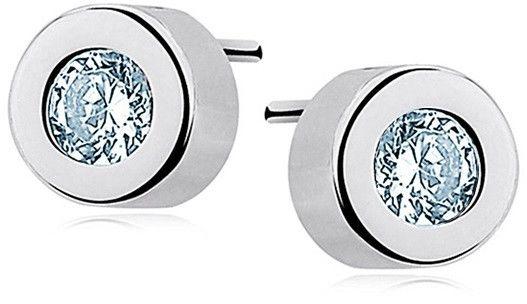 Delikatne rodowane srebrne kolczyki celebrytka kółka kółeczka akwamaryn cyrkonie srebro 925 KS0036E_AQ