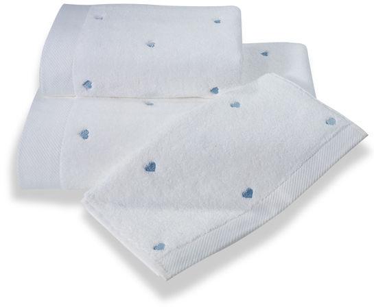 Ręcznik kąpielowy MICRO LOVE 75x150cm Biały / niebieskie serduszka