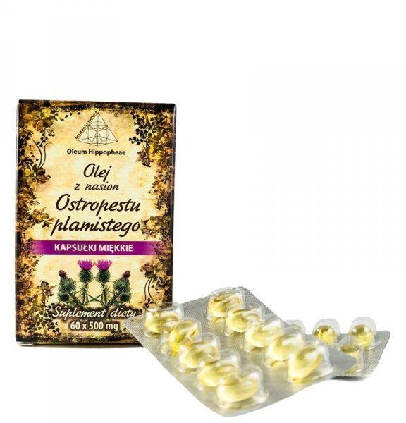 Olej z Nasion Ostropestu Plamistego, Suplement Diety, 60 kapsułek 500 mg