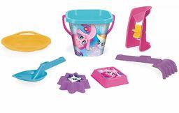 Wader 76242 My Little Pony 7-częściowy zestaw wiaderka, sitko, młynek do piasku, szufelka, grabie i 2 formy do piasku, 7-częściowy, kolorowy