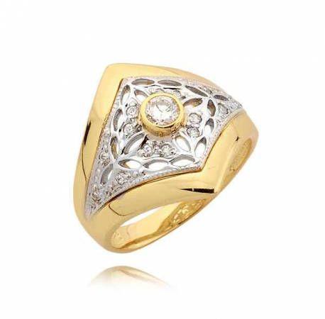 Pierścionek z żółtego i białego złota