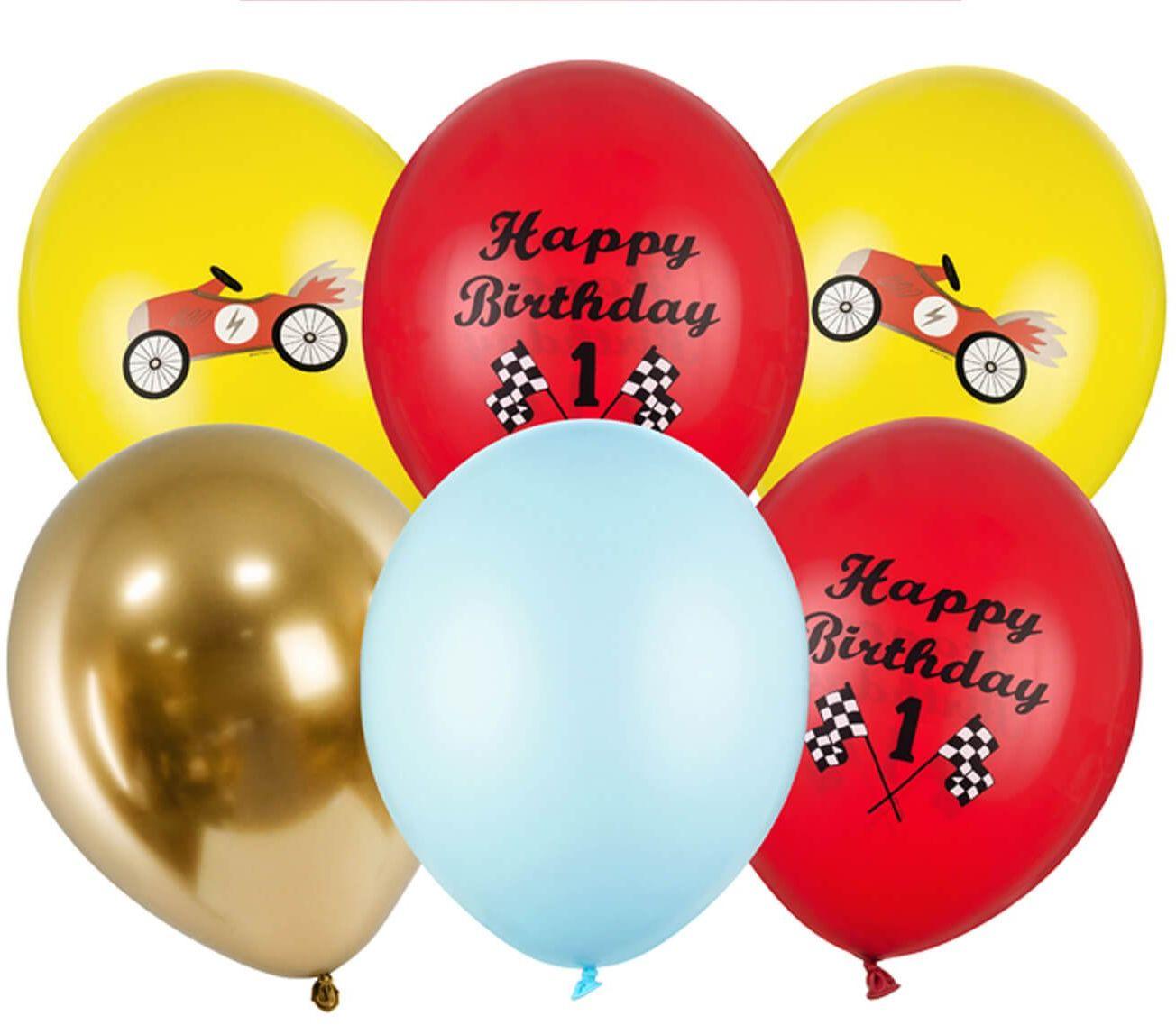 Zestaw balonów lateksowych Samochodziki - 30 cm - 6 szt.