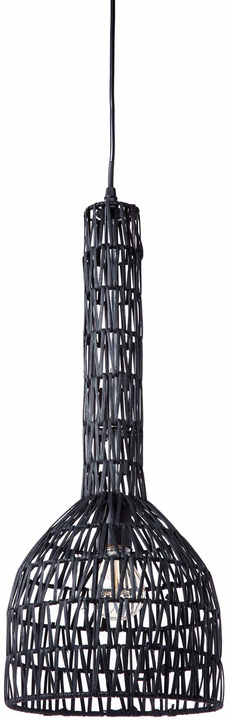 Lussiol 250278 lampa wisząca, rattan, 60 W, czarna, ø23 x wys. 60 cm