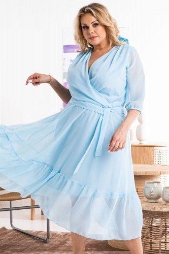 Sukienka na komunie szyfonowa z falbanką zwiewna GERARDA błękitna