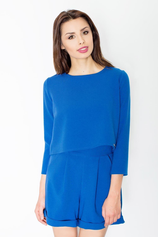 Niebieski stylowy i modny kombinezon na lato