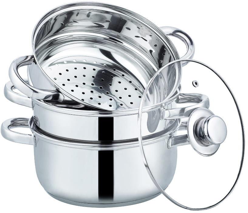 Zestaw garnków 4 el. do gotowania na parze, nierdzewny, indukcja