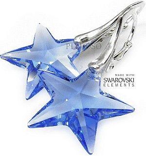 SUPER CENA Swarovski Blue Star Kolczyki Srebro