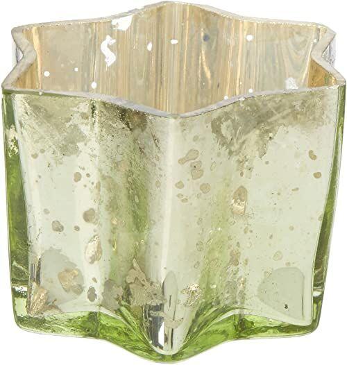 Insideretail szkło rtęciowe gwiazda świeczniki na herbatę - z trudną zieloną folią, 7 cm x 7 cm x 4,5 cm, zestaw 6, 7 x 4,5 x 7 cm