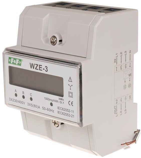 Trójfazowy licznik zużycia energii 80A, zgodność z MID WZE-3