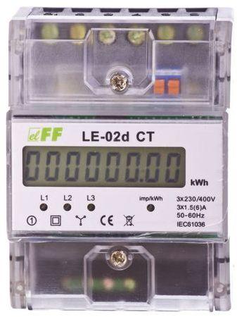 Licznik energii elektrycznej 3-fazowy 5A 230/400V do współpracy z przekładnikiem (programowalny) 20-6000/5A LCD LE-02D-CT