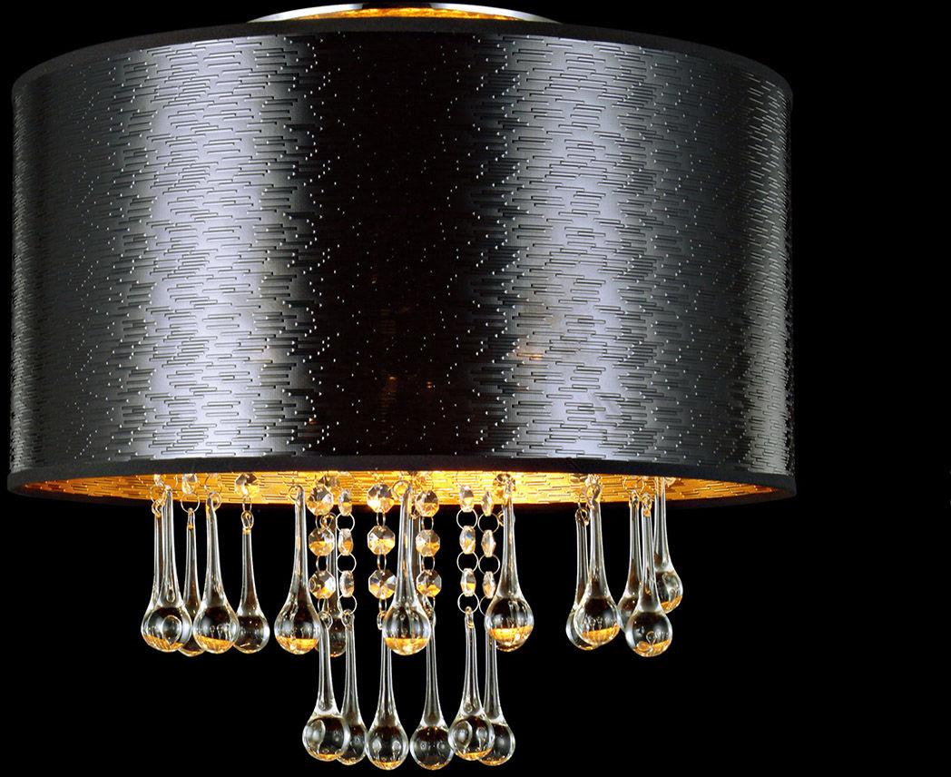 Italux plafon lampa sufitowa Sasha MXM2028/3 czarny abażur z szklanymi soplami 40cm