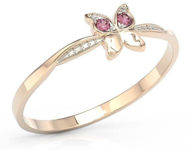Pierścionek motylek z różowego złota z różowymi cyrkoniami bp-88p-r-c