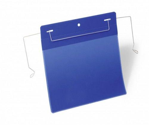 Kieszeń magazynowa z drutami montażowymi DURABLE 223x218 (A5 pozioma) niebieska (50szt.) 175207