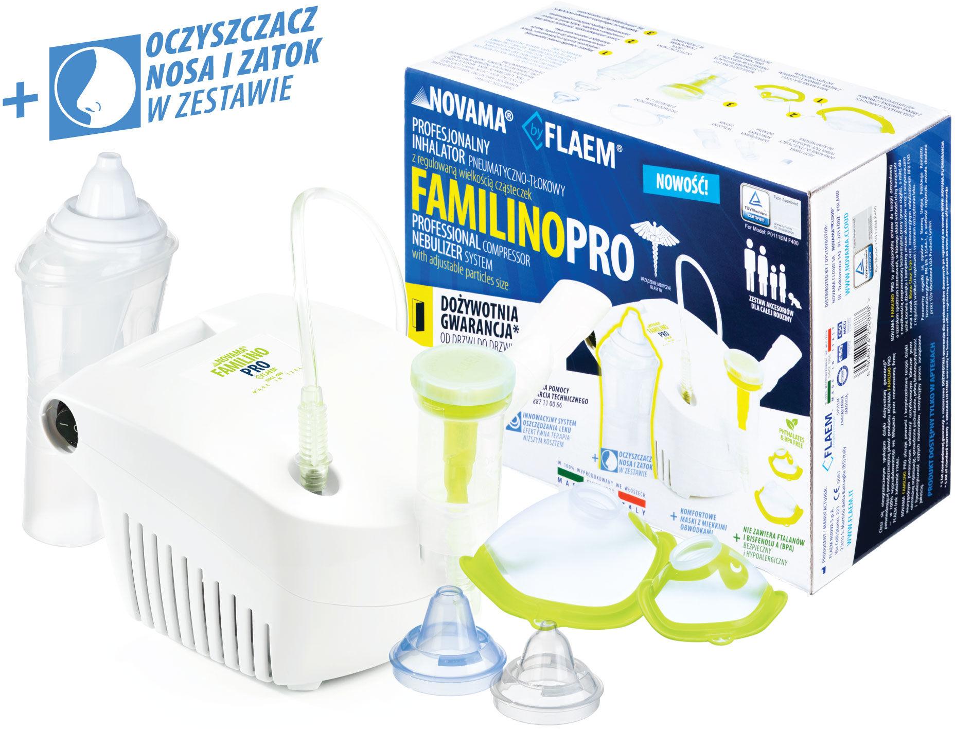 NOVAMA Familino Pro by Flaem Inhalator dolnych i górnych dróg oddechowych z dożywotnią gwarancją