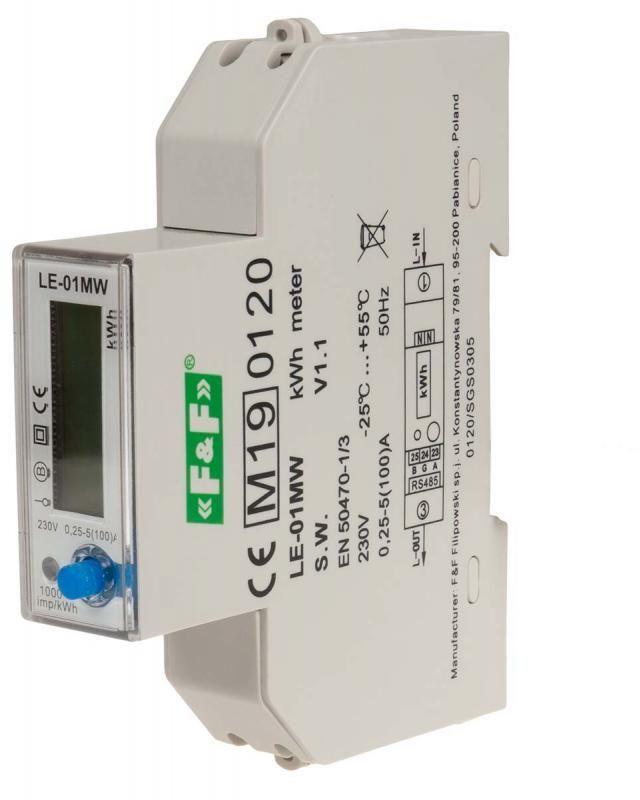 Licznik energii elektrycznej 1-fazowy 5/100A 230V z wyświetlaczem LE-01MW