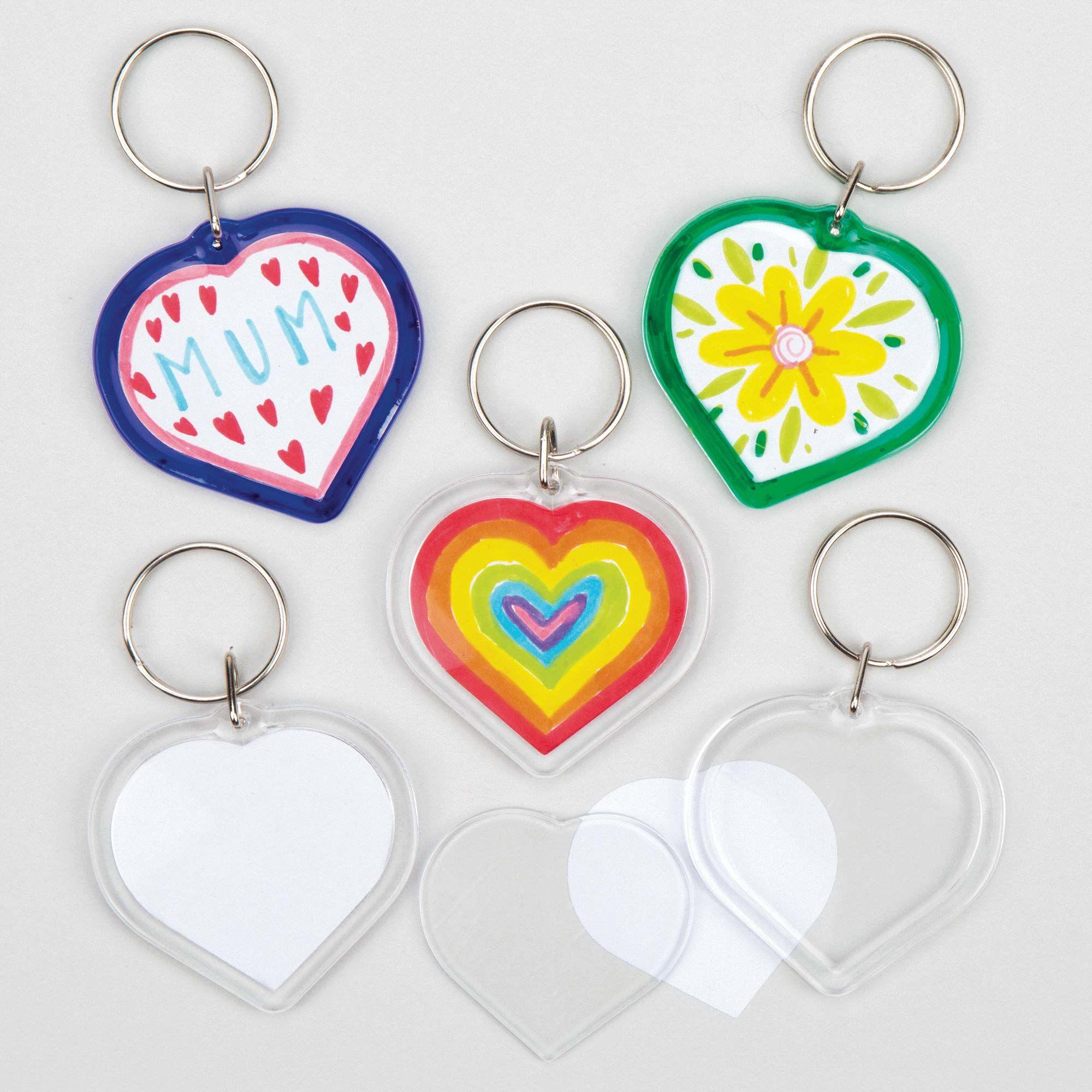 """Baker Ross breloczek do kluczy """"Serce"""" dla dzieci do zaprojektowania, wspaniały prezent na Dzień Matki i Walentynki  (6 sztuk)"""