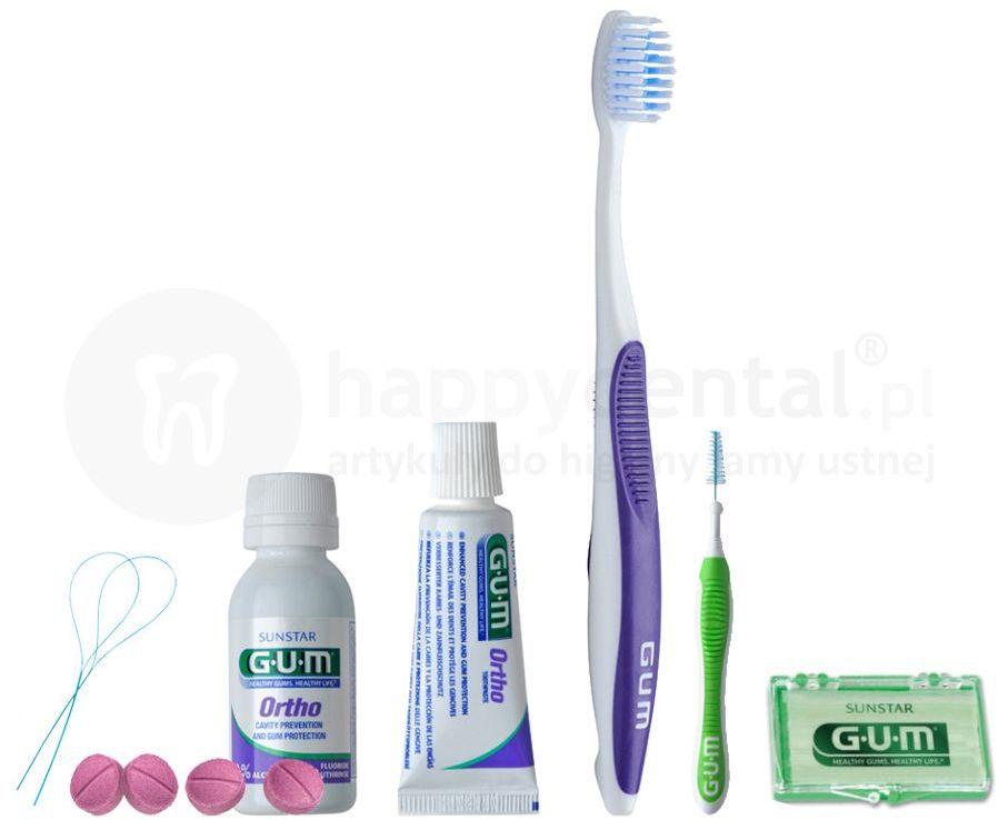 GUM SUNSTAR ORTHO-KIT zestaw ortodontyczny zawierający mini produkty do pielęgnacji jamy ustnej