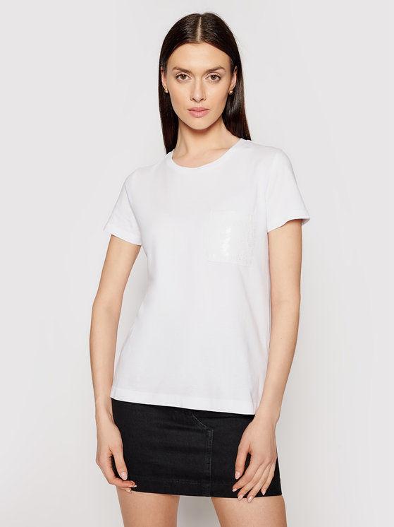 DKNY T-Shirt P0RAOC2R Biały Regular Fit