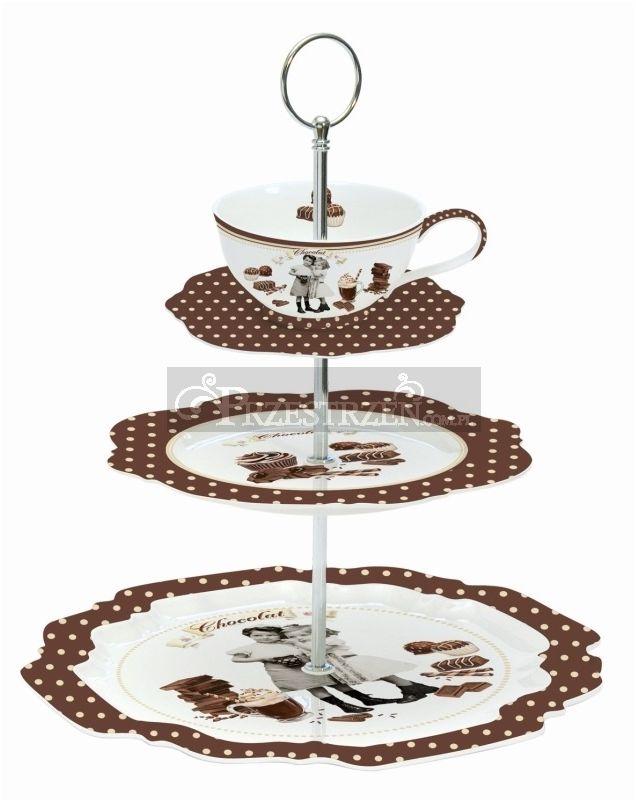 3 PIĘTROWA PATERA ETAŻERKA DO SŁODYCZY Vintage Chocolate (1143 CHOV)
