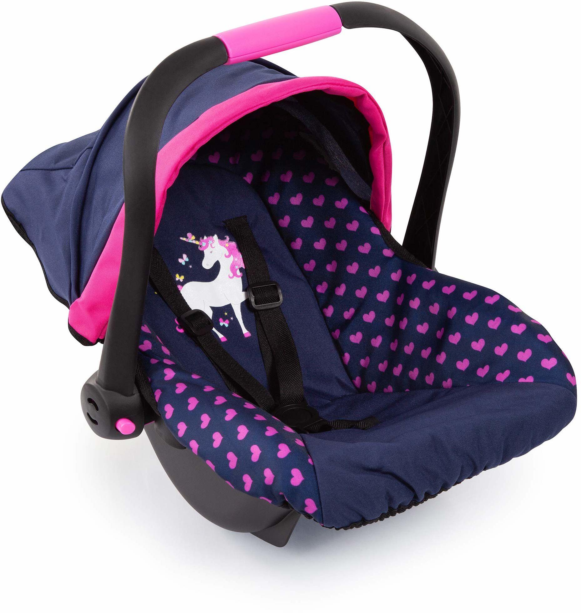 Bayer Design 67954AA fotelik samochodowy dla lalek EasyGo, akcesoria dla lalek, pasuje do wózków dla lalek Vario, z osłoną, niebieski z wzorem serca i motywem jednorożca