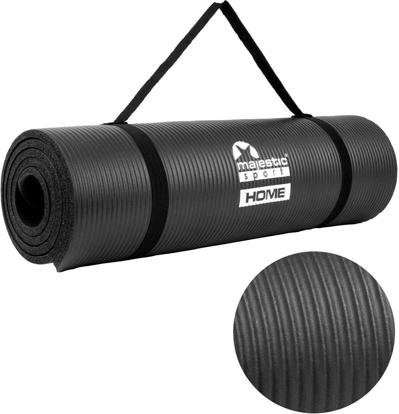 Mata do ćwiczeń NBR Majestic Sport HOME 185x60x1 cm czarna