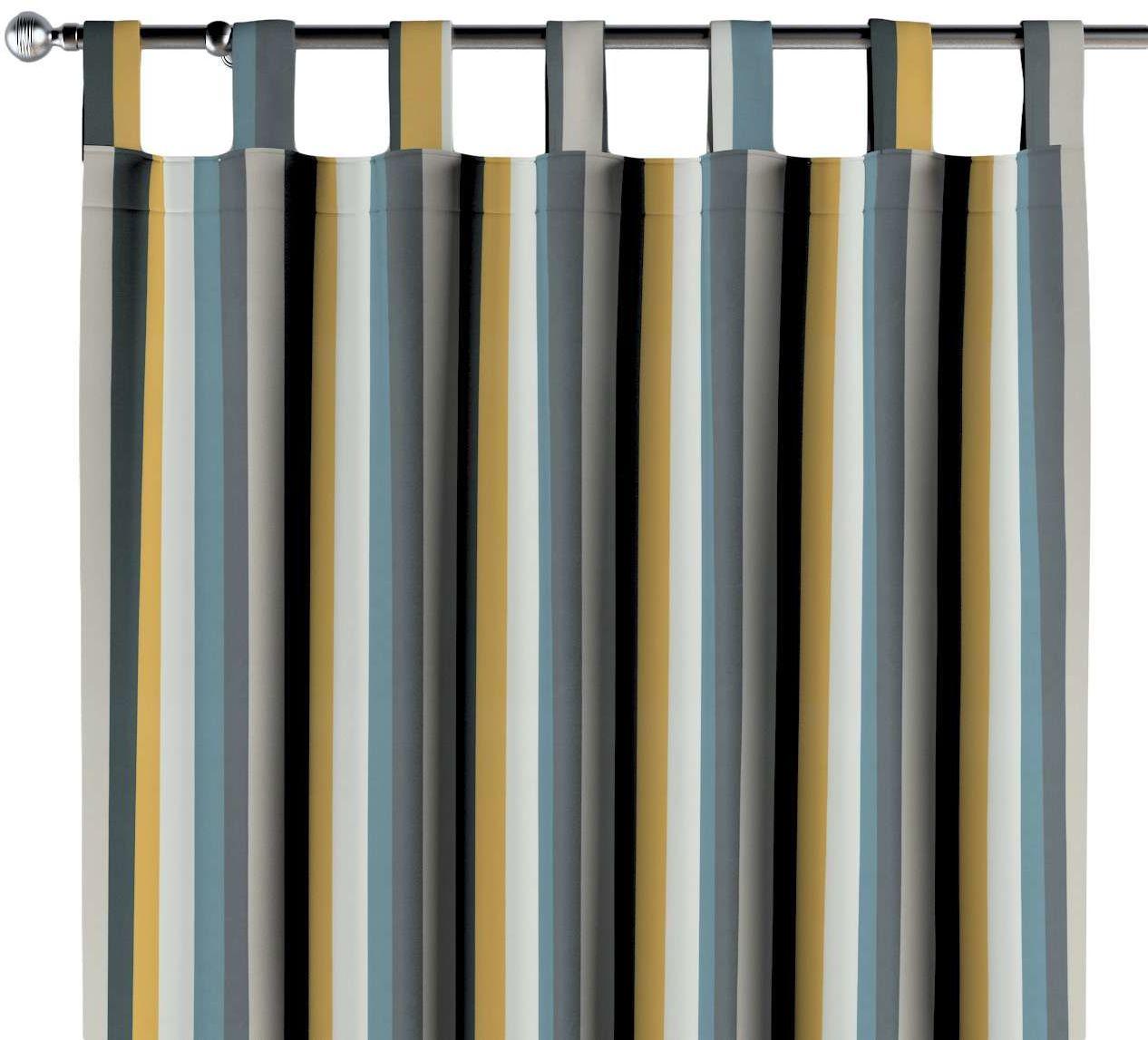 Zasłona na szelkach 1 szt., kolorowe pasy w niebiesko-żółto-szarej kolorystyce, 1szt 130  260 cm, Vintage 70''s