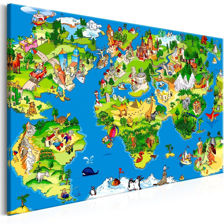Obraz - dziecięca mapa (1-częściowy) szeroki