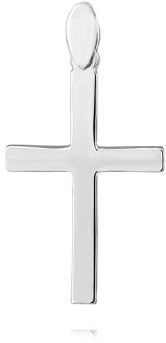 Delikatny rodowany srebrny gładki polerowany krzyżyk krzyż srebro 925 KS0198C