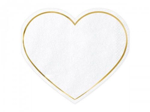 Serwetki papierowe Kształt Serca, białe ze złotą obwolutą, 20 szt.