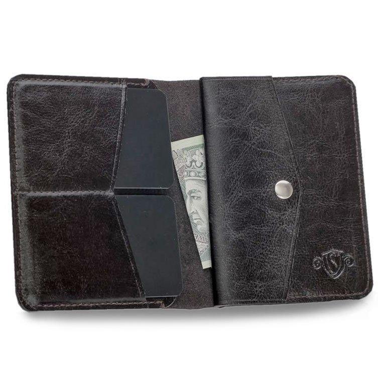 Skórzany cienki portfel męski z bilonówką SOLIER SW15 SLIM ciemny brąz - ciemny brąz