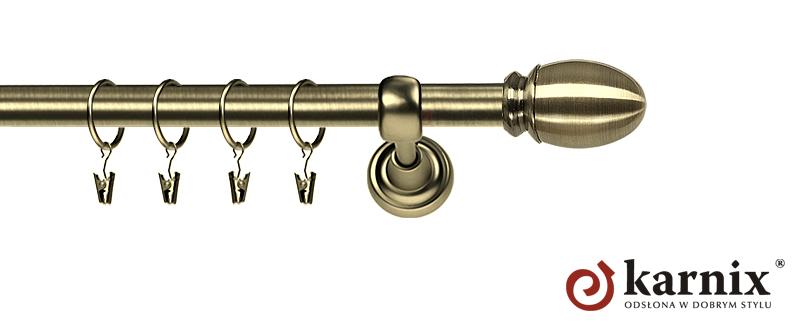 Karnisz Metalowy Rzymski pojedynczy 16mm Owal antyk mosiądz