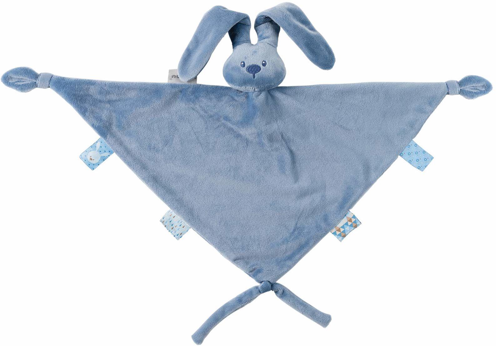 Nattou Duży ręcznik do przepychania zając Lapidou, towarzysz od urodzenia, 65 x 40 cm, Lapidou, niebieski