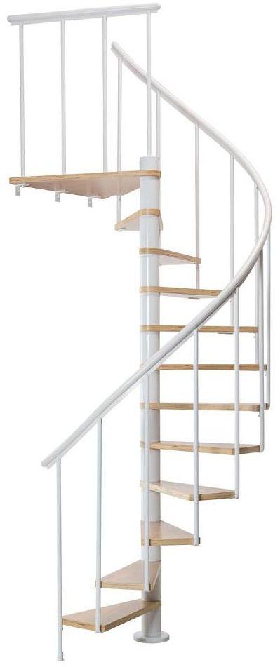 Schody spiralne Białe Calgary średnica 140 cm stopnie szerokość 55 cm Antracyt 11 sztuk Dolle