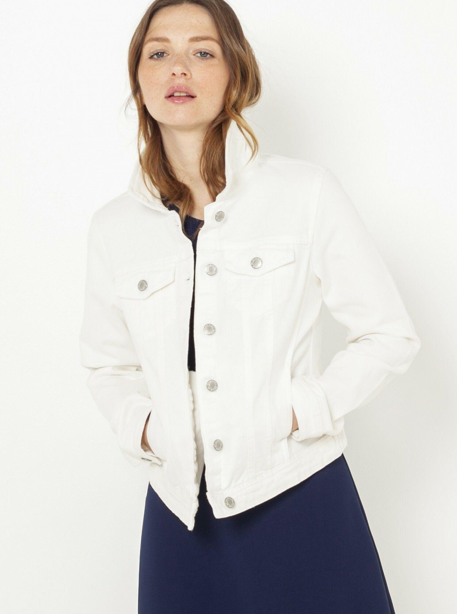 CAMAIEU Damska kurtka dżinsowa biały - L