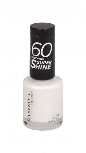 Rimmel London 60 Seconds Super Shine lakier do paznokci 8 ml dla kobiet 703 White Hot Love