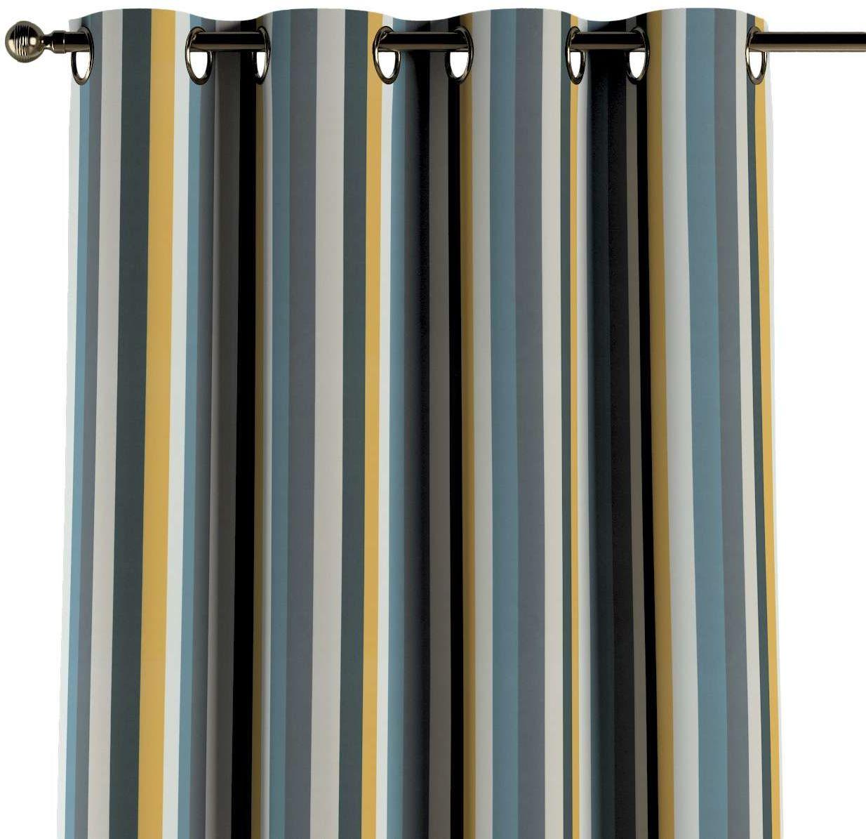 Zasłona na kółkach 1 szt., kolorowe pasy w niebiesko-żółto-szarej kolorystyce, 1szt 130  260 cm, Vintage 70''s