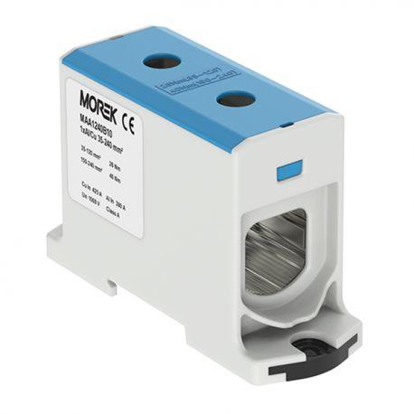 Złączka szynowa 35-240mm2 nieb 2 otwor AL/CU 1000V TH35 1P MAA1240B10 Morek 3989