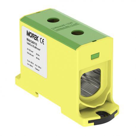 Złączka szynowa 35-240mm2 żółt-ziel 2otwor AL/CU TH35 1P MAA1240Y10 Morek 3996