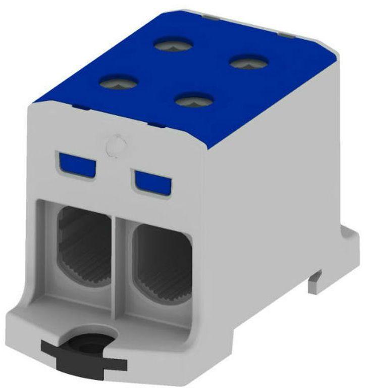 Złączka szynowa gwintowa rozgałęźna AL, CU 35-240mm2, TS 35, 1 tor, 4 otw. niebieska T022240.B MAA2240B10 89740003