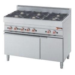 Kuchnia gazowa 6 palnikowa z piekarnikiem gaz. i szafką 25800W