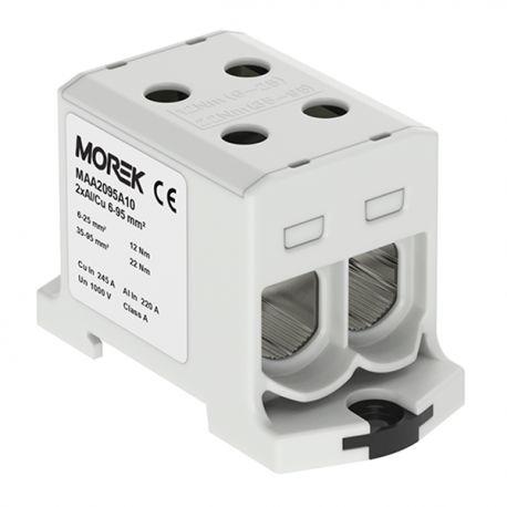 Złączka szynowa 6-95mm2 szara 4 otwor AL/CU 1000V TH35 1P MAA2095A10 Morek 4115