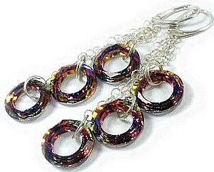 Swarovski kolczyki pierścienie 3 KOLORY